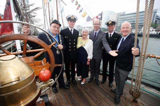 Pictured on board 'The Pelican of London' tall ship berthed on Sir John Rogersons Quay were Lord Mayor of Dublin, Mícheál Mac Donncha, LT/CDR of L.E Orla, Ronan McLoughlin, Terre Duffy, Water Ways Ireland, Derek Kelly, Dublin City Council, Mary Weir, Dublin City Council and John McKeown, Waterways Ireland at arrival of The Three Festivals Tall Ships Regatta into Dublin Port today Friday, 1st June until Monday, 4th June 2018
