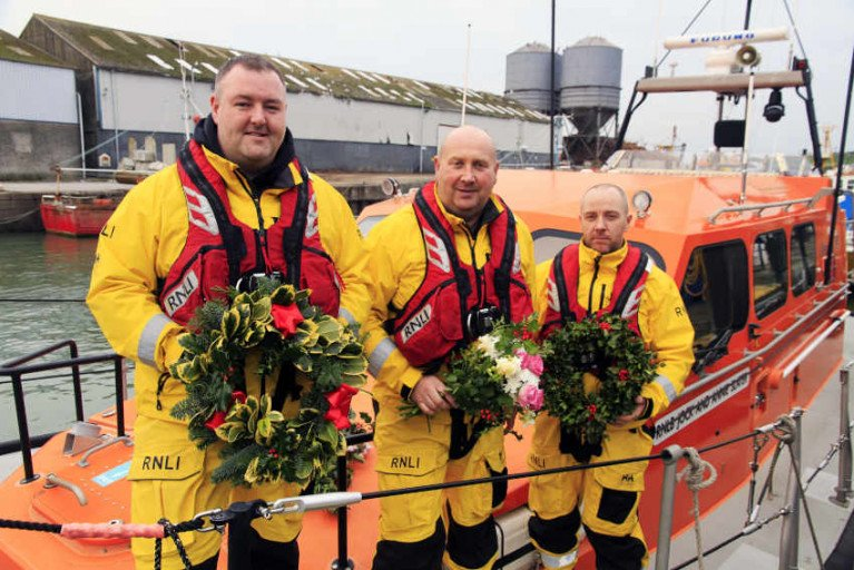 Graham Fitzgerald, coxswain Nick Keogh and Peter Byrne at the Wicklow RNLI New Year's Day Annual Service of Remembrance