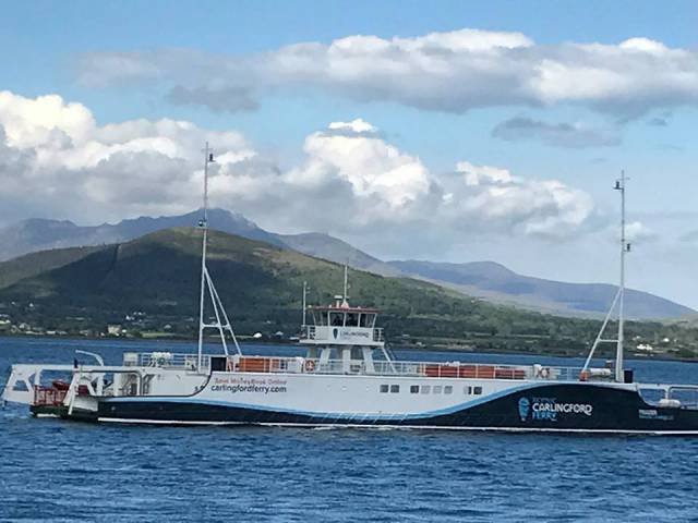 The 44-car capacity ferry Frazer Aisling Gabrielle seen in Carlingford Lough several weeks ago but has yet to enter service