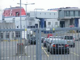 The location of the proposed coach park at the former fastferry (HSS Stena Explorer as above) terminal in Dún Laoghaire Harbour.