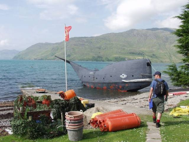 Tom McClean's self-built whale boat 'Moby' in Ardintigh Bay