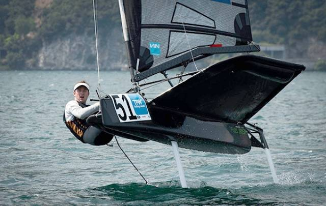 Royal Cork Moth sailor David Kenefick has just finished foiling week on Italy's Lake Garda