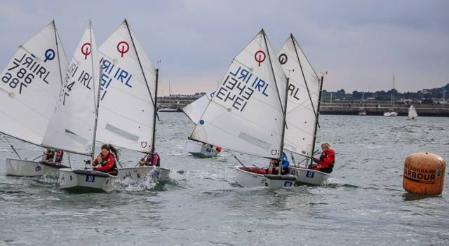Optimist racing at Dun Laoghaire Harbour. The 2017 National Championships will be hosted by the Royal Irish Yacht Club