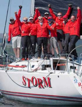 Whatever about the outcome of this weekend's J/109 Nationals at Howth, home team Pat Kelly (centre) and his crew on Storm are already winners of the RC35 Celtic Trophy 2018 after success (seen here) in the Silvers Scottish Series in May, followed by second at Bangor Town Regatta in July, and first at the Welsh IRC Championship in August.