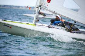 Sally Bell of the host club lies 12th overall in the Radial division at the Laser Ulster Championships at RNIYC