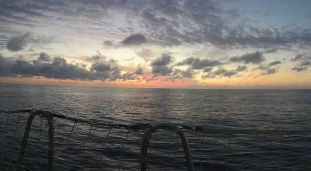 Sunset seen from the deck of GREAT Britain off the east coast of Australia