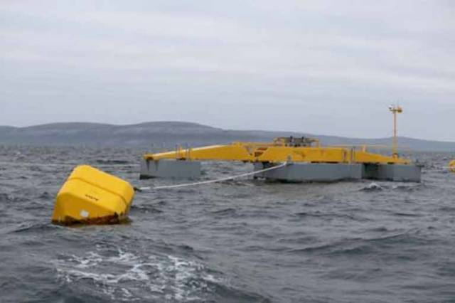 The prototype wave energy device at the Galway Bay Marine and Renewable Energy Test Site