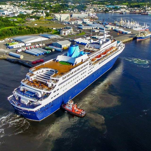 The elegant lines of cruiseship, Saga Sapphire on arrival to Killybegs, Co Donegal on Wednesday