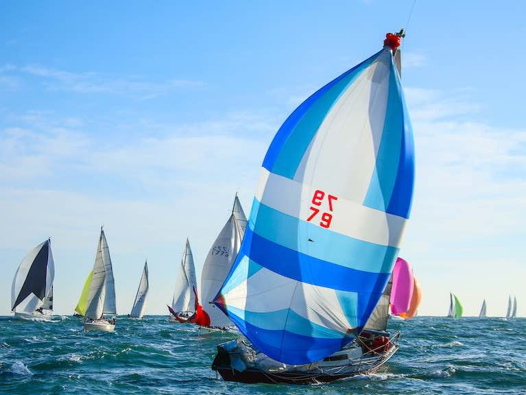 Yacht racing on Dublin Bay - A fleet of 51 boats were schedule to race round the Kish lighthouse on Sunday but the race has been postponed