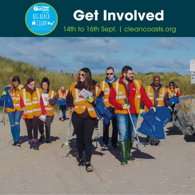 Get Involved!... in this year's Clean Coast's Big Beach Clean and make positive action through volunteering tomorrow or over this weekend of 15-16th September.