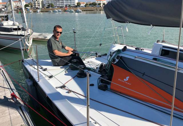 Conor Fogerty onboard the test keelboat in France