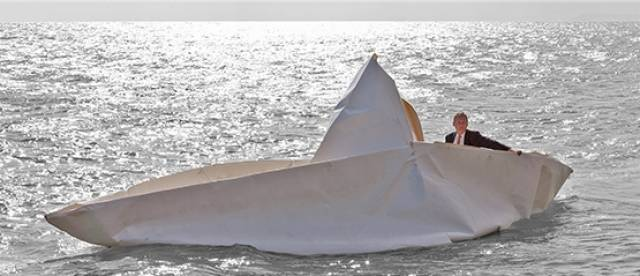 Frank Bôlter is pictured in his giant paper boat that he has made with members of the Kinvara Sailing Club, which he'll be sailing into SeaFest on Saturday 2 July.  The quirky craft will be launched at Kinvara Pier at 12noon and will sail proudly into Galway Harbour alongside a flotilla of Galway Hookers.