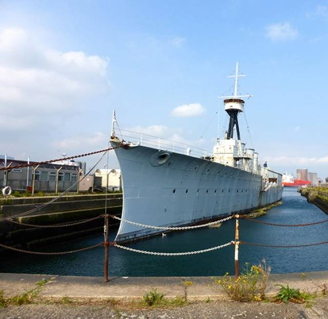 HMS Caroline in Belfast docks, September 2015. She is now nearing the completion of a restoration by Blu-Marine of Belfast in a project led by Staff Captain John Rees OBE