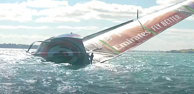 Defenders Team New Zealand nosedived and capsized in an unforced error shortly after gybing