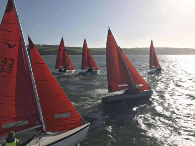 Squibs at the start of the second lap in the Kinsale Yacht Club Frostbites
