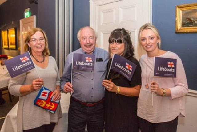 At the National Yacht Club's fish supper in aid of the RNLI are from from right to left are Rita O'Reilly, Ken Robinson, Pamela Bell and Emma Robinson