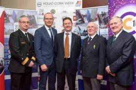 An Tanaiste Simon Coveney (second from left), a keen Cork Week competitor himself, at today's Regatta Launch at Haulbowline Island. From left: Commodore Michael Malone of the Irish Navy, David Thomas of Volvo, RCYC Admiral Pat Farnan and Irish Sailing President Jack Roy. Scroll down for more photos