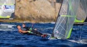 "In balance. The newly-honoured ""Sailors of the Year 2018"" Sean Waddilove and Robert Dickson achieving optimal windward performance with their Gold Medal-winning International Olympic 49er"