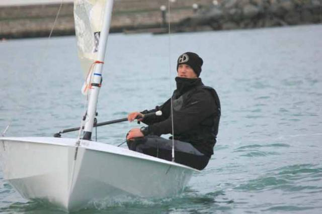 Shane McCarthy of Greystones is contesting the DMYC Frostbite Series