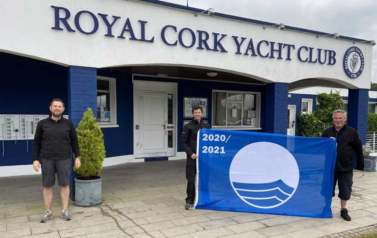 Blue Flag for Royal Cork Yacht Club - (L-R) Gavin Deane, General Manager, Dave Coveney, Marina & Facilities Supervisor and Mark Ring, Marina & Racing Manager
