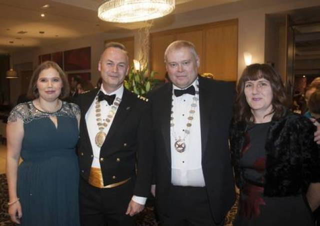 At the Maritime Ball held in Arklow are Michele Roche; Paul Roche President of the Irish Institute of Irish Mariners; Andrew Sheen President of the Irish Chamber of Shipping and Ayshea Sheen.