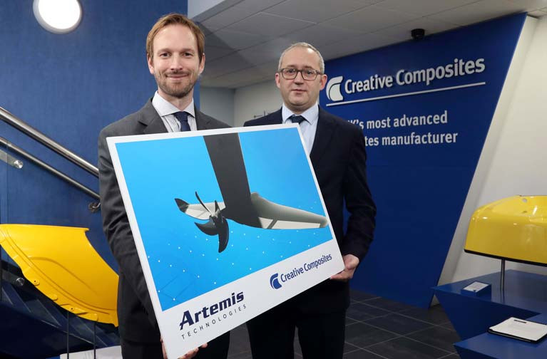 Artemis Technologies Commercial Director David Tyler, left, joins Creative Composites Managing Director Jonathan Holmes to announce a collaboration that will see Lisburn-based Creative Composites make components for Artemis Technologies' revolutionary new electric eFoiler Propulsion System. It forms part of Artemis Technologies' wider plans to lead the decarbonisation of maritime transport from its base in Belfast