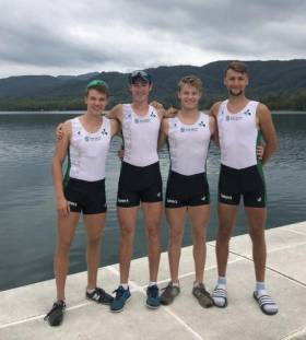 The Ireland lightweight quadruple: Fintan McCarthy, Ryan Ballantine, Jake McCarthy, Andrew Goff.