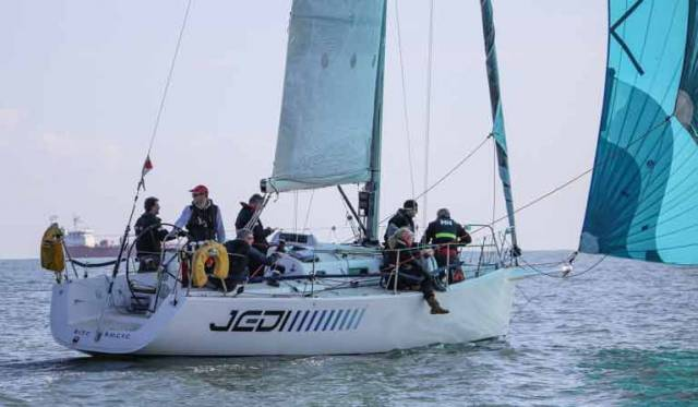 J109 Jedi competing in an ISORA offshore race. The boat is available to charter this season from the INSS