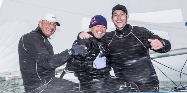 World Champs –  John Bertrand (AUS), representing the Royal Brighton Yacht Club, with crew Paul Blowers (GBR) and Ben Lamb (AUS)