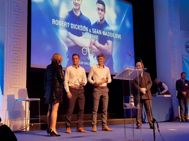 2018 Sailors of the Year Sean Waddilove and Robert Dixon receive their award on stage