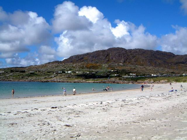 Dog's Bay in Connemara, with its distinctive white sand