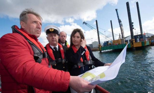 Minister for Agriculture, Food and the Marine Michael Creed TD inspecting harbour works at the official opening of the harbour administration building in Castletownbere with harbourmaster Cormac McGinley, Tony O'Sullivan, engineer and Kelly Guiney, Engineer