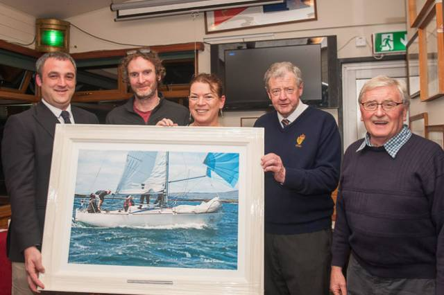 SCORA Commodore Kieran O'Connell (left) with the winners of the inaugural Claire Bateman Award for 'most enthusiastic boat in SCORA', Dave Lane and Sinead Enright, and Claire's husband and sailing photographer Robert Bateman and SCORA Hon Sec Michael Murphy. See gallery below