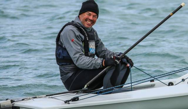 Mark Lyttle in Dublin Bay after becoming Laser Grand Masters World Champion, racing his eighth Laser dinghy