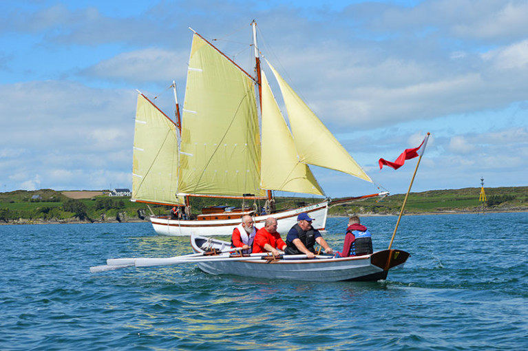 Good times in West Cork – Leo McDermott's former fishing boat Sile a Do, converted to a cruising ketch by Liam Hegarty, with one of the Ilen School's Limerick gandelows in the foreground at the annual Baltimore Woodenboat Festival