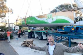 Enda O'Coineen pictured last November with his new boat, the former Vendée dropout Souffe eu Nord