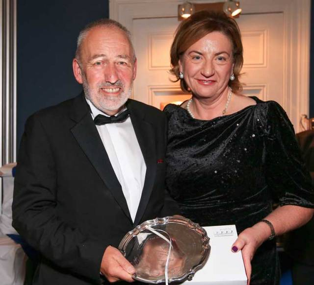 Darryl Hughes of Maybird with Anne-Marie Ryan, wife of the ISORA Chairman Peter Ryan, at the presentation of the historic Penmaen Plate in the National YC