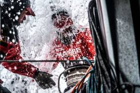 Antonio Cuervas-Mons is smashed by the water on board MAPFRE, Wednesday 13 June