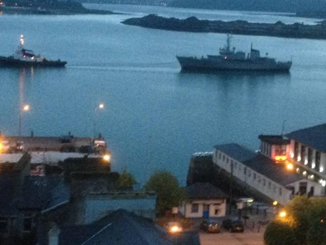 Farewell Aisling: The former Naval Service OPV passes off Cobh, Cork Harbour for the final time last night, Sunday under tow to the Netherlands.