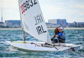 Ireland will be represented by 3  boats & 4 sailors at the Youth Worlds in China: Sally Bell in Laser Radial Girls (above), Conor Quinn in Laser Radial Boys, & Geoff Power and James McCann in 420s.