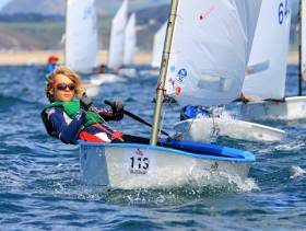 Rocco Wright of Howth and the National YC has become the new Irish Under 12 Optimist National Champion, racing at Kinsale. He is seen here on his way to victory in the British Open Under 12 title, which he achieved with seven clear wins