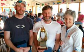 Simon Revill (L), Noel Butler (C) and Ann Atkinson, Rear Commodore LDYC. (National Champions). Scroll down for more prizewinners