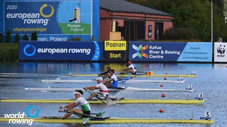 Ireland's Fintan McCarthy (closest to camera) raced in the Lightweight Men's Single Sculls and is through to the A Final