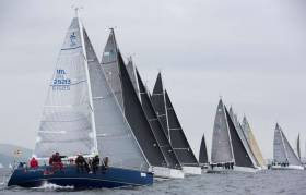 A start of the highly competitive RC35 class at the Scottish Series on Loch Fyne