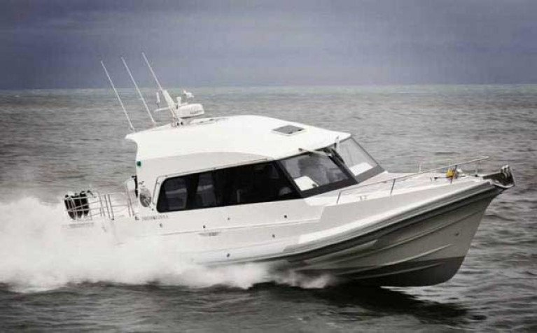 The all–white Red Bay RIB has a 400–mile range