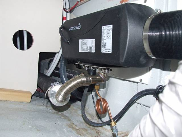 Close up of a typical Airtonic heater installation on a yacht