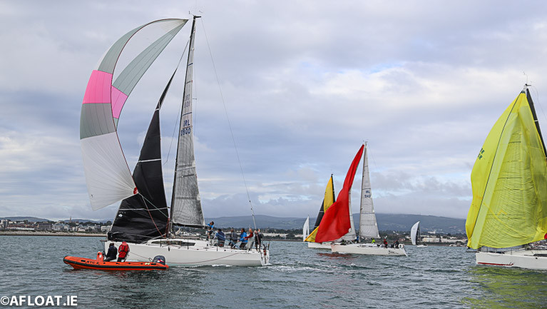 Rockabill VI (pink stripe on spinnaker) leads the overall points for the Irish ISORA prize prize in 2020