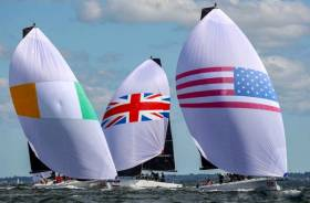 Flying the flag for Ireland, asymmetric style. The US and UK in downwind dicing with Ireland, represented by Royal Cork YC and skippered by Anthony O'Leary, in the New York YC 20-team international series in September at Newport, RI. Ireland finished third overall in a series raced in the new Melges IC 37s, designed by Mark Mills of Wicklow