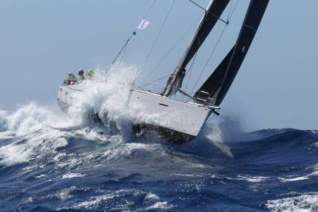 Pata Negra cresting it. Despite wholesale spinnaker destruction, thank to experiencing a lot of miles on this point of the sailing, the Howth-chartered boat has been able to hold second place in Class 1 in the RORC Caribbean 600