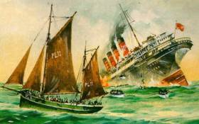 May 7th, 1915. The sailing fishing boat Wanderer from the Isle of Man is first on the scene after the Transatlantic liner Lusitania is torpedoed ten miles off the Old Head of Kinsale by a German submarine as an act of war. The first survivors have already been hauled on board Wanderer, while others struggle towards their rescuer in the water or on lifeboats